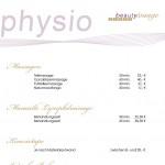 Preisliste Physiotherapie und Krankengymnastik